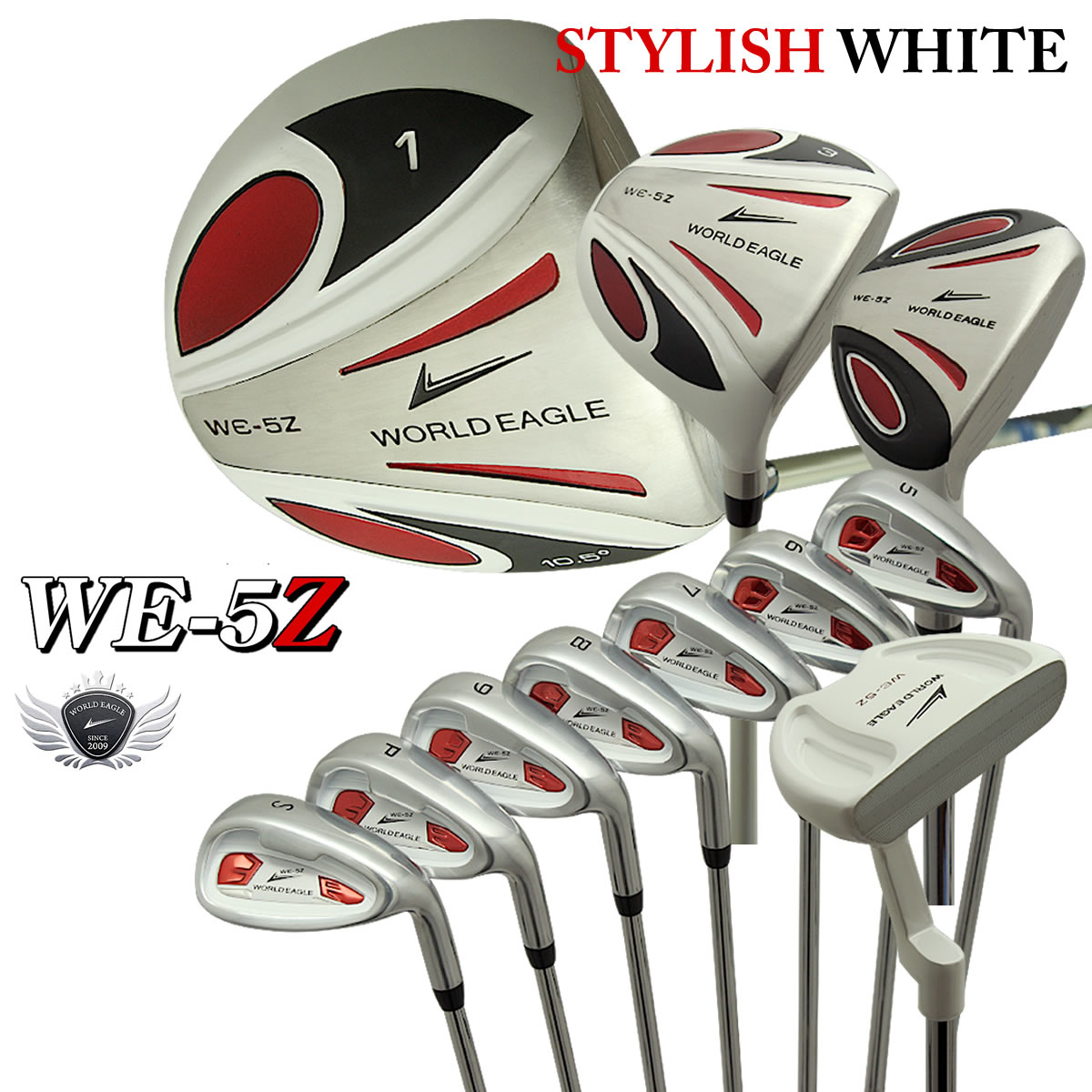 5Zホワイト メンズゴルフクラブセット13点セット