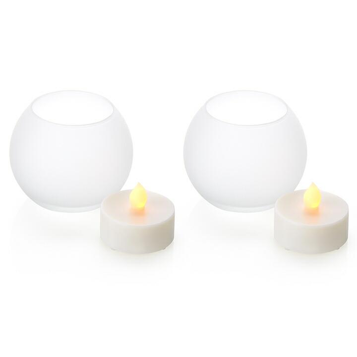 LEDキャンドルライト つや消しグラス入り ボール型2個 息の吹きかけでの消灯機能付き 電池式 火を使わない安全なフェイクキャンドル LED プレゼント ろうそくライト ランタン キャンドルホルダー【送料無料】