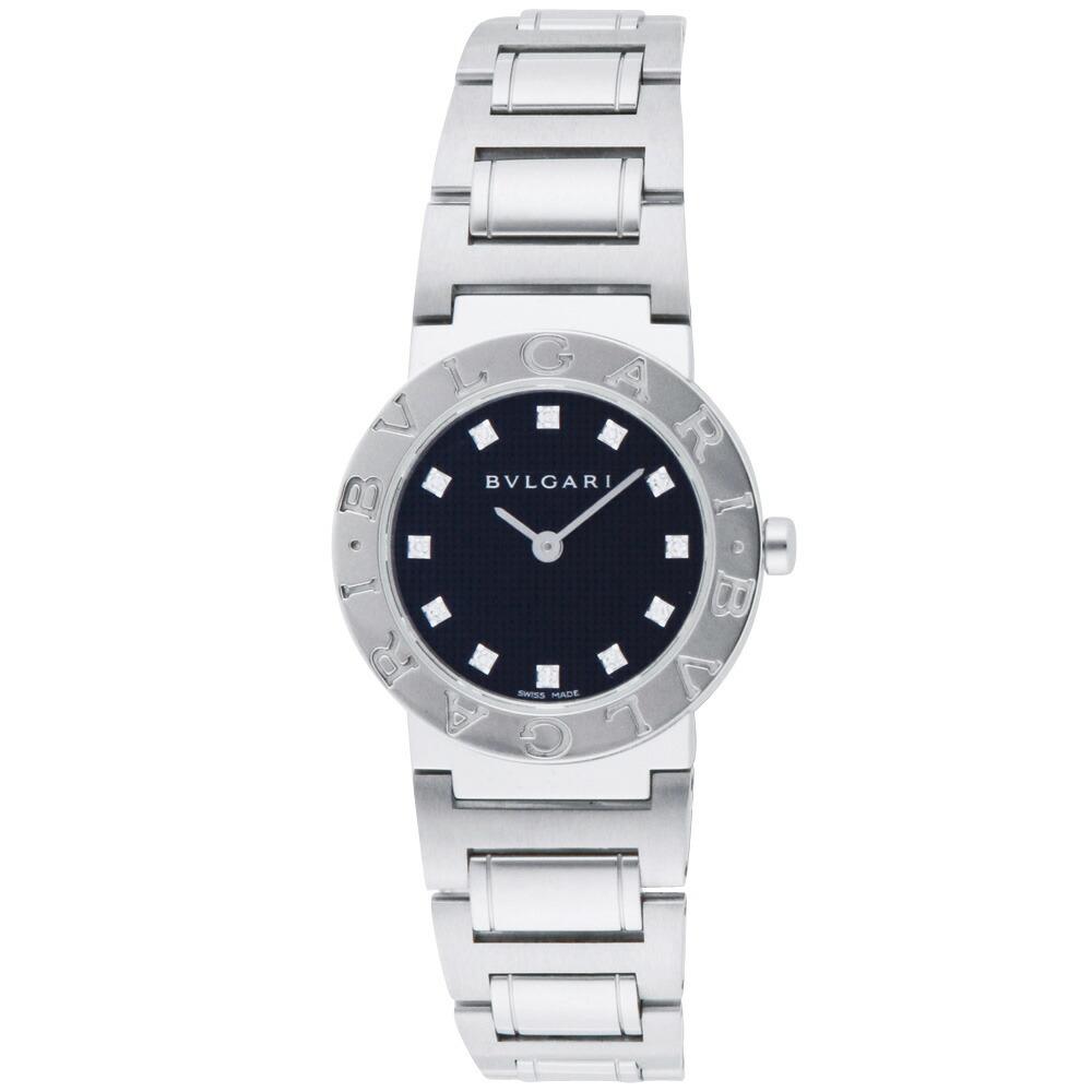 best service 0c64e 2d332 ブルガリ BVLGARI 腕時計 レディースウォッチ BB26BSS/12 ブルガリブルガリ 12ポイントダイヤ ブラック×シルバー 26mm  【お取り寄せ】