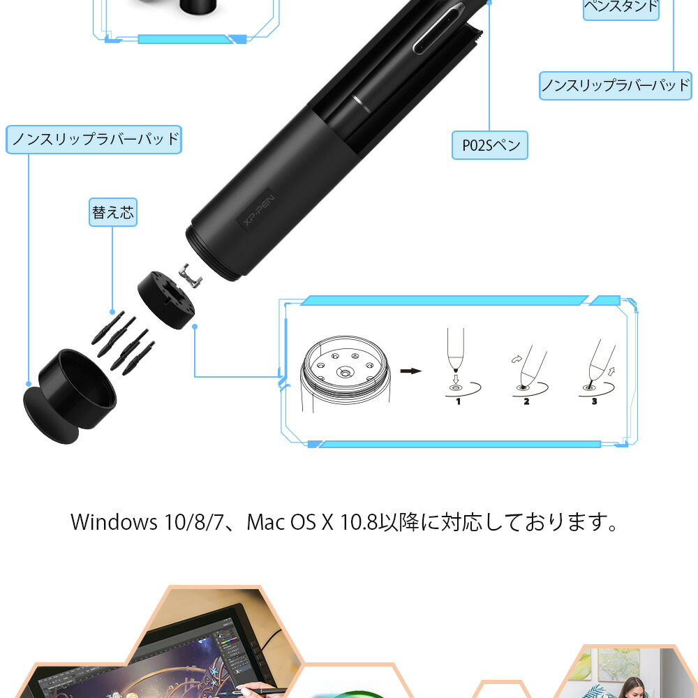 Wide color level liquid tab FHD monitor 16 express key 8192 level pressure  of the pen Artist 22EPro called 82% of XP-Pen 22 inches liquid crystalline