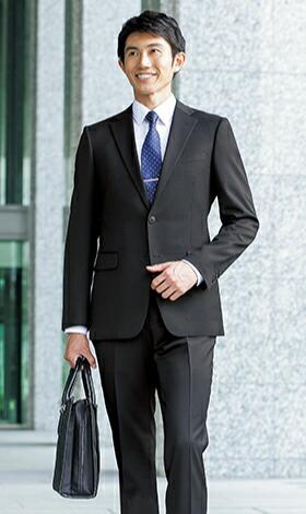 【就活】【ブラック無地】【ストレッチ】【ツーパンツ】スタイリッシュスーツ