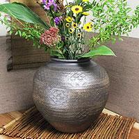 焼締丸花瓶