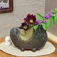 窯変手付き花瓶