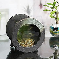 陶器水槽丸型ミニ(茶色)