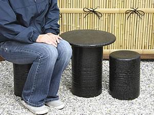 陶器テーブルセット しがらきガーデンセット やきもの庭園セット 信楽焼