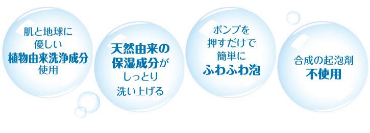 特長:植物由来洗浄成分・天然由来の保湿成分・ふわふわ泡・合成起泡剤不使用
