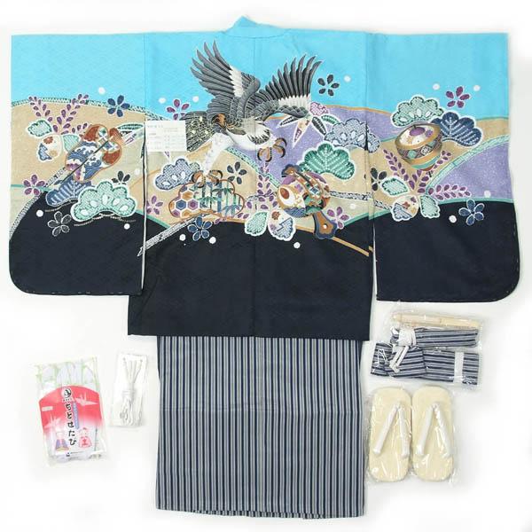 七五三 5歳用 羽織袴 12点フルセット 男の子着物【オプションで揚げ加工のお直し(+3000円)も…