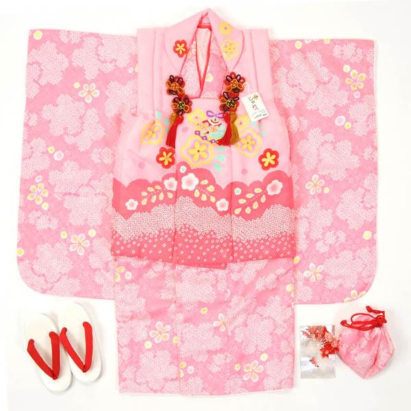 七五三 3歳用 被布セット三ッ身 ピンク【半衿付け・揚げ加工お直しサービス・足袋プレゼント】…