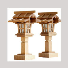 威風堂々・本けやき 欅 灯籠 二段屋根 ■ 電装式 1対 ■ 高さ23cm 神棚 祖霊舎用 コード式