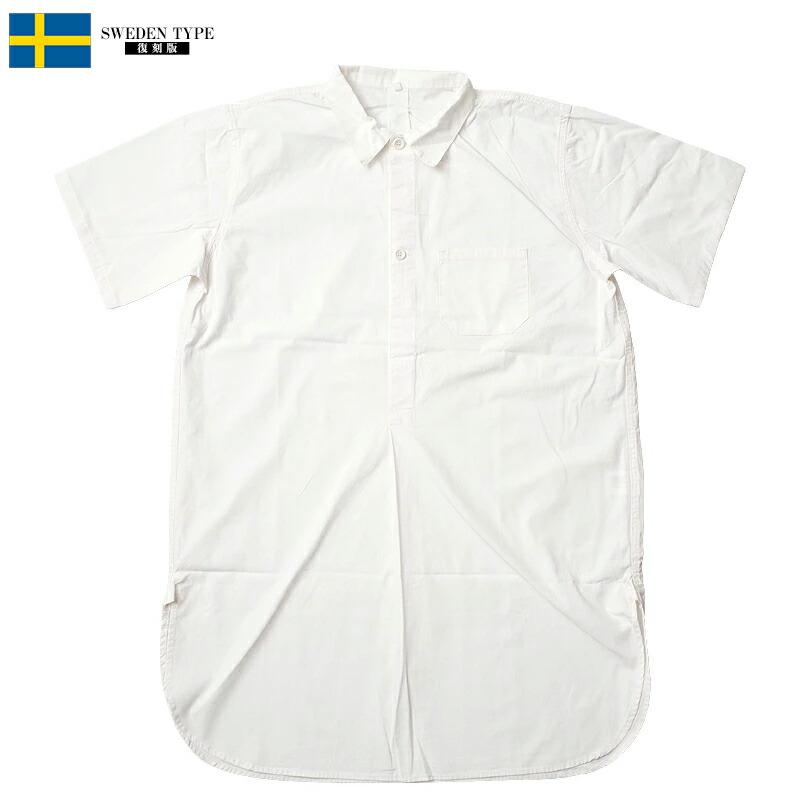 スウェーデン軍タイプ グランパシャツ 2ボタン 半袖