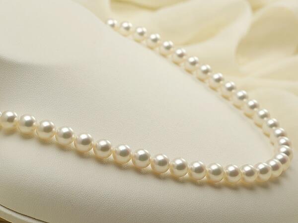 【真珠の本場 伊勢志摩よりお届け】淡いピンクグリーンの上品な色目♪7.5〜8.0mmあこや本真珠花珠ネックレス(鑑別書付)【072072】