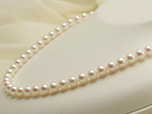 【真珠の本場 伊勢志摩よりお届け】華やかピンクが魅力♪7.0~7.5mmあこや本真珠準花珠パールネックレス(鑑別書付)【39233】