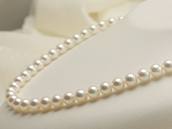 【真珠の本場 伊勢志摩よりお届け】淡い優しい色目♪7.5〜8.0mmあこや本真珠花珠パールネックレス(鑑別書付)【1376327】