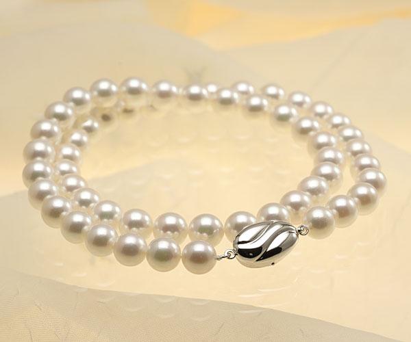 【真珠の本場 伊勢志摩よりお届け】淡い優しい色目♪7.5〜8.0mmあこや本真珠花珠パールネックレス(鑑別書付)【137632】