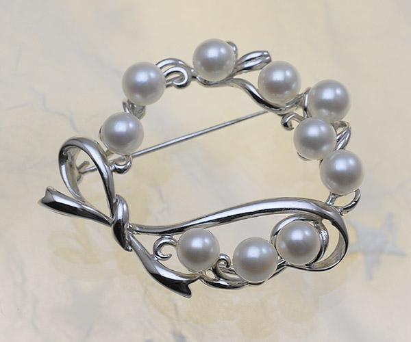【真珠の本場 伊勢志摩よりお届け】リボンが可愛らしい♪6.0mmあこや本真珠パールブローチ【br0048】