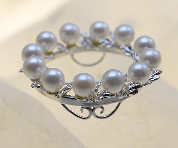 【真珠の本場 伊勢志摩よりお届け】淡いピンクが魅力♪6.0mmあこや本真珠パールブローチ【br0049】
