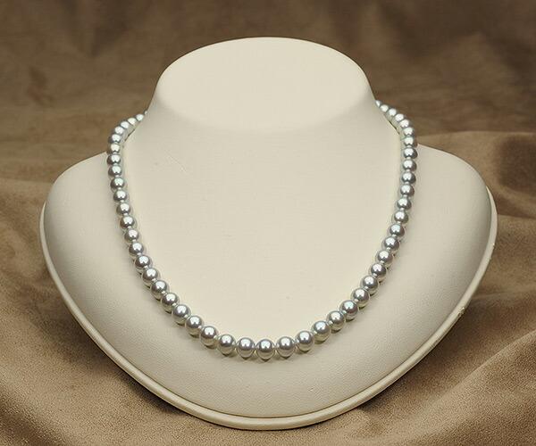 【真珠の本場 伊勢志摩よりお届け】艶やかな輝き♪6.5〜7.0mm あこや本真珠シルバーグレーパールネックレス【nc0067】(正面)