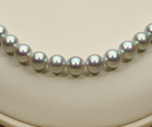 【真珠の本場 伊勢志摩よりお届け】艶やかな輝き♪6.5〜7.0mm あこや本真珠シルバーグレーパールネックレス【nc0067】(正面アップ)