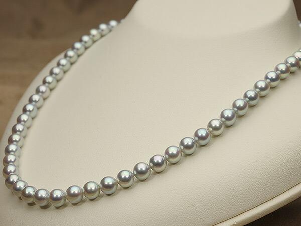 【真珠の本場 伊勢志摩よりお届け】艶やかな輝き♪6.5〜7.0mm あこや本真珠シルバーグレーパールネックレス【nc0067】(右側)
