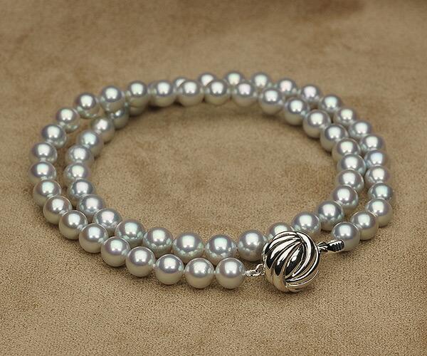 【真珠の本場 伊勢志摩よりお届け】艶やかな輝き♪6.5〜7.0mm あこや本真珠シルバーグレーパールネックレス【nc0067】(全体アップ)