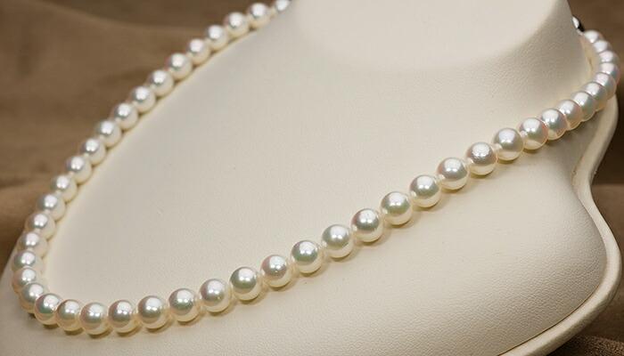 【真珠の本場 伊勢志摩よりお届け】7.0〜7.5mm華やかなピンクグリーン♪あこや本真珠ネックレス【nc0083】