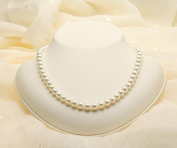 【真珠の本場 伊勢志摩よりお届け】淡いグリーンにほのかなピンク♪7.0〜7.5mmあこや本真珠ネックレス【nc0089】