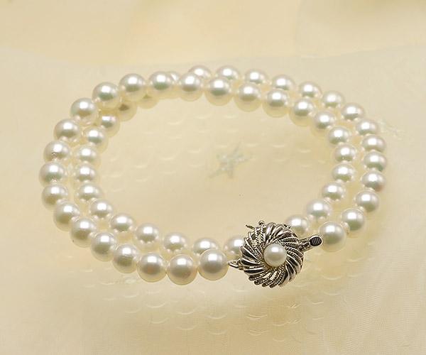 【真珠の本場 伊勢志摩よりお届け】優しい淡いグリーン♪7.0〜7.5mmあこや本真珠ネックレス【nc0089】