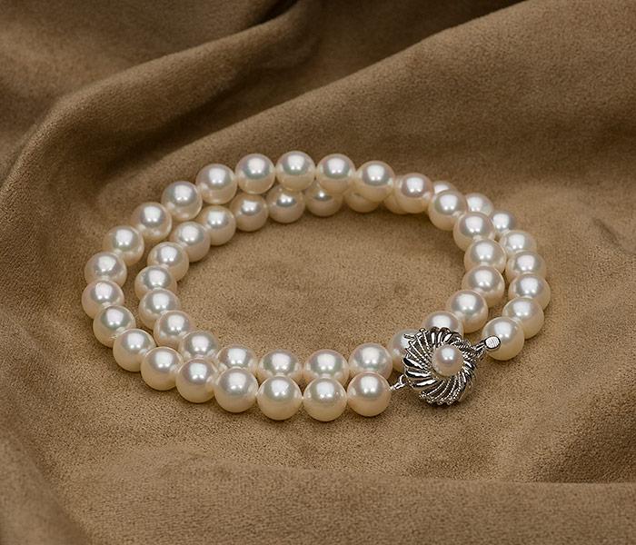【真珠の本場 伊勢志摩よりお届け】8.0-8.5mmほんのり優しいピンクが魅力♪あこや本真珠パールネックレス【nc0191】