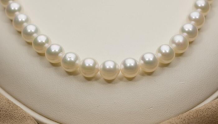 【真珠の本場 伊勢志摩よりお届け】8.0-8.5mm淡い上品グリーン♪あこや本真珠パールネックレス【nc0194】