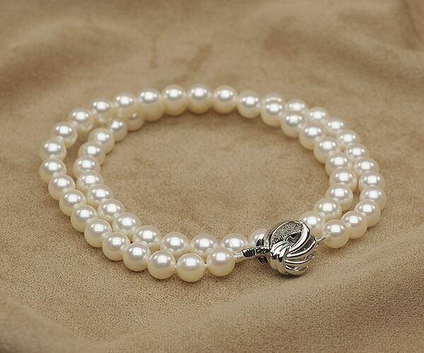 【真珠の本場 伊勢志摩よりお届け】淡いホワイトピンク♪6.5-7.0mmあこや本真珠パールネックレス【nc0395】