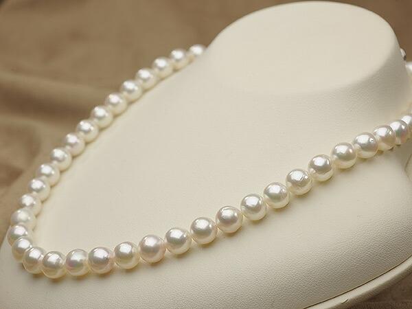【真珠の本場 伊勢志摩よりお届け】虹色の色目が魅力♪8.5〜9.0mmあこや本真珠バロックパールネックレス