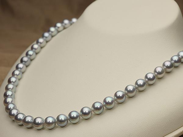 【真珠の本場 伊勢志摩よりお届け】グレーの魅力が光る♪7.5-8.0mmあこや本真珠シルバーグレーネックレス