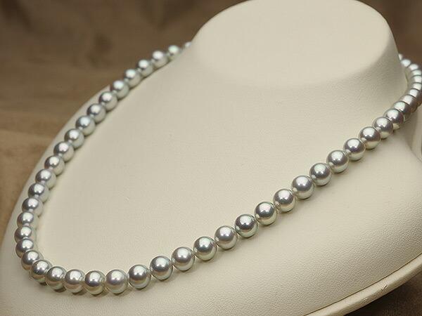【真珠の本場 伊勢志摩よりお届け】艶やかな上品グレー♪7.0-7.5mm あこや本真珠シルバーグレーパールネックレス【nc0567】(右側)