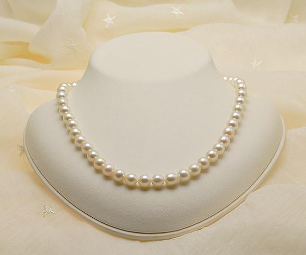 【真珠の本場 伊勢志摩よりお届け】ほんのりピンク♪7.5〜8.0mmあこや本真珠ネックレス【nc0797】