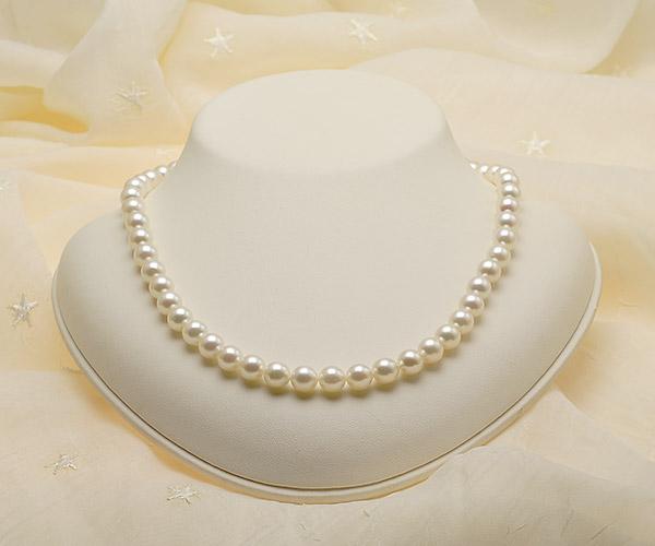 【真珠の本場 伊勢志摩よりお届け】7.5〜8.0mmほんのり淡いピンク♪あこや本真珠ネックレス【nc0808】