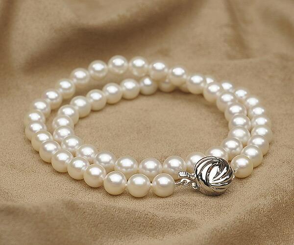 【真珠の本場 伊勢志摩よりお届け】7.5〜8.0mmほのかな淡いピンク♪あこや本真珠ネックレス【nc0814】