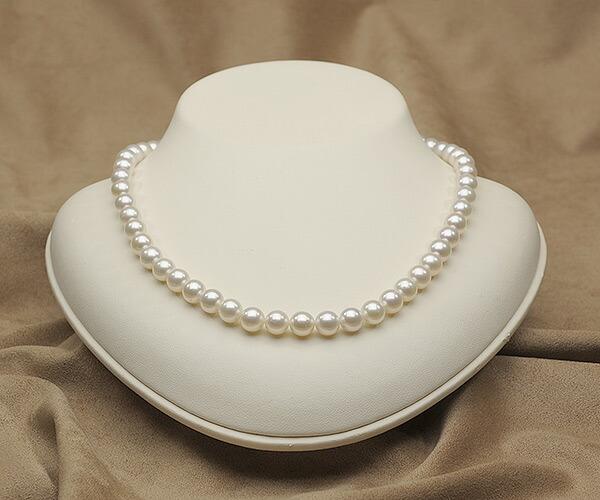 【真珠の本場 伊勢志摩よりお届け】7.5〜8.0mmほんのり淡いピンクグリーン♪あこや本真珠ネックレス【nc0816】