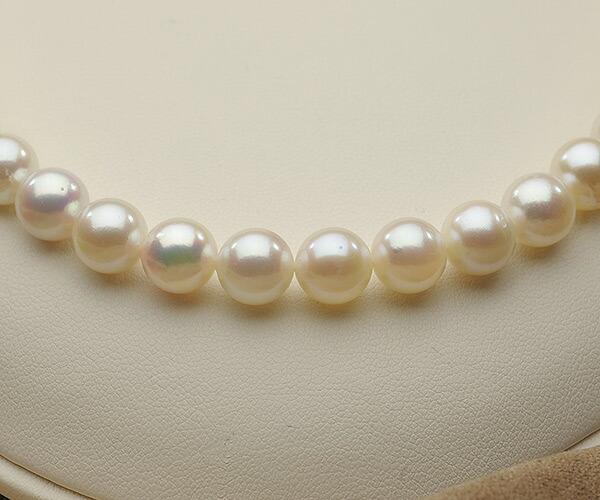 【真珠の本場 伊勢志摩よりお届け】8.5-9.0mmほんのり淡いピンク♪あこや本真珠パールネックレス【nc0839】