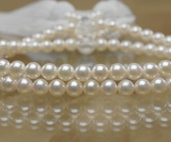 【真珠の本場 伊勢志摩よりお届け】淡い上品カラー♪6.5〜7.0mmあこや本真珠念珠(数珠)2連【ry0057】