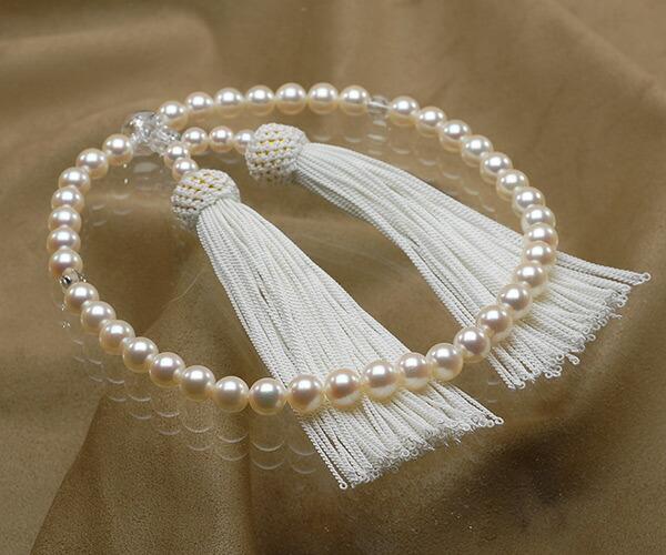 【真珠の本場 伊勢志摩よりお届け】優しいピンク♪7.0〜7.5mmあこや本真珠念珠(数珠)【ry0059】