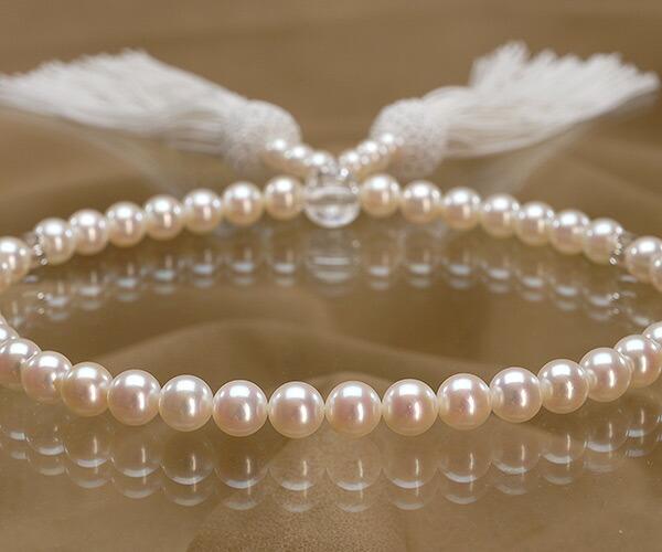 【真珠の本場 伊勢志摩よりお届け】華やかで美しい色目♪7.0〜7.5mmあこや本真珠念珠(数珠)【ry0060】
