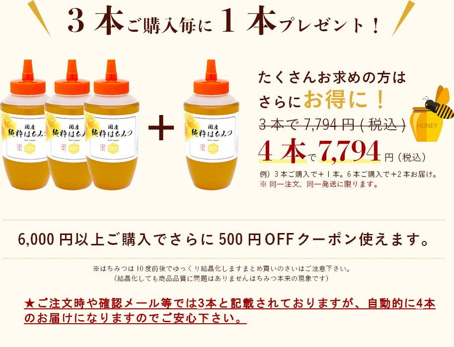 3本ご購入毎に1本プレゼント!たくさんお求めの方はさらにお得に!6,000円以上ご購入でさらに600円OFFクーポン使えます。