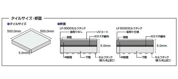 置敷きビニル床タイル「耐薬レイフラットタイルLF-3000・セルフタック」タイルサイズ・断面