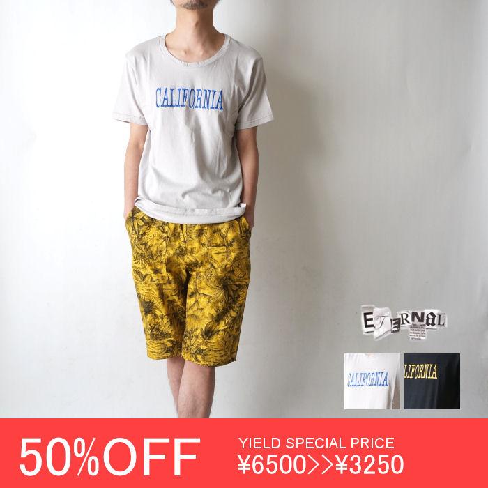 50%OFF 【ETERNAL(エターナル)】13006 オーガニックコットン CALIFORNIA刺繍 Uネック半袖T
