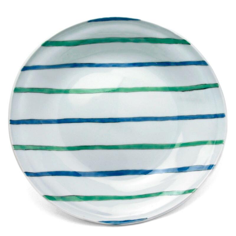 色絵青緑線タタラ丸皿・古川章蔵