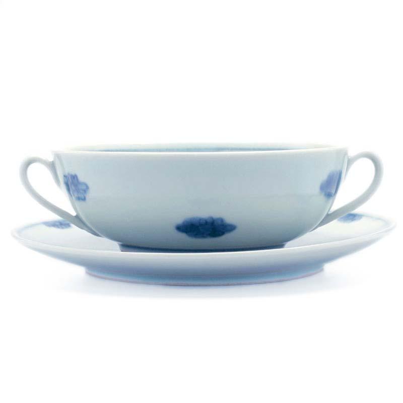 菊花文耳付スープ碗皿・特大・藤塚光男