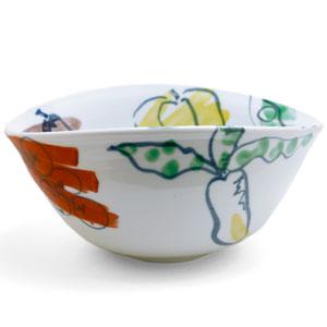 色絵野菜文楕円鉢・古川章蔵