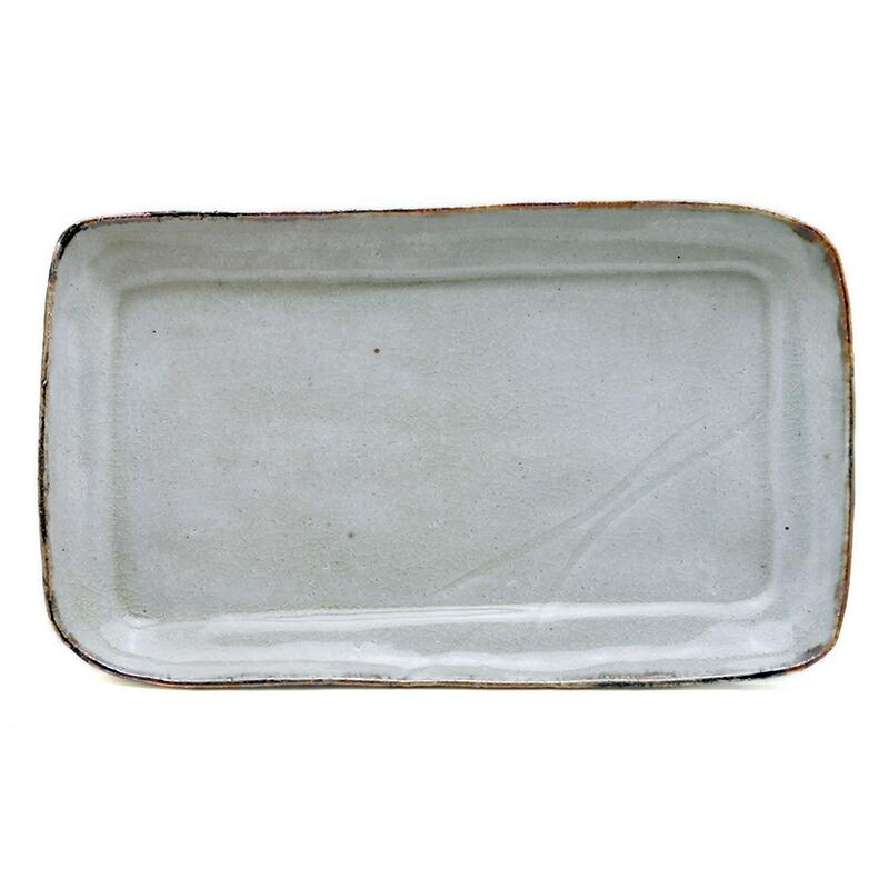 錆絵角皿23.5×13.5cm・有松進