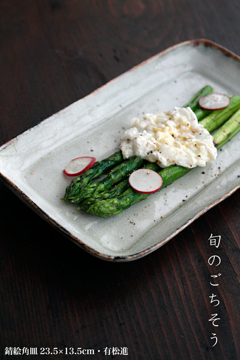 錆絵角皿23.5×13.5cm・有松進|和食器の愉しみ・工芸店ようび