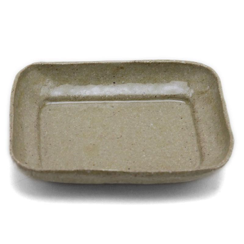 灰釉角皿12.5×10cm・有松進